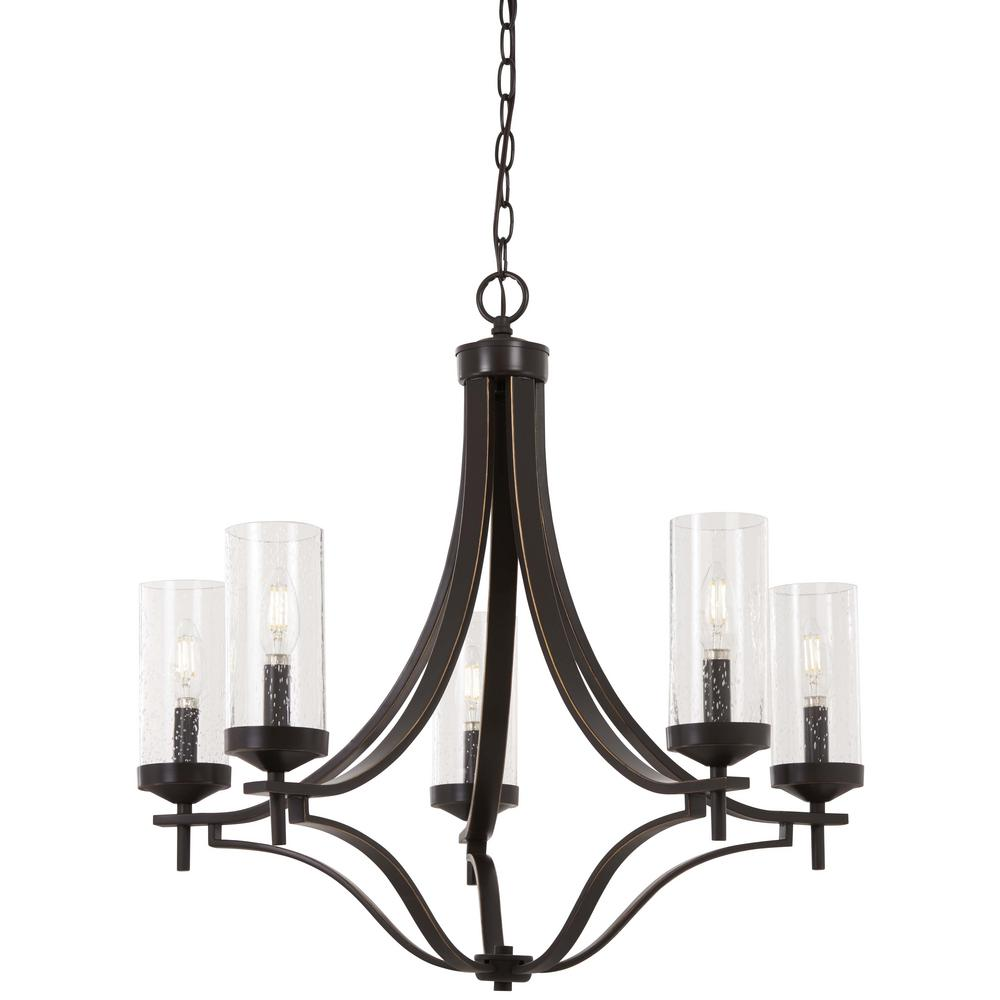 Minka Lavery Elyton 5-Light Downtown Bronze with Gold Highlights Chandelier with Clear Seedy Glass Shade