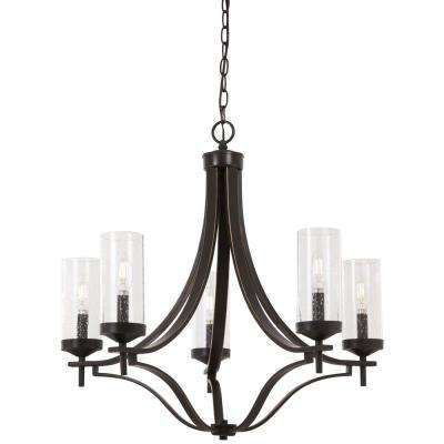 Elyton 5-Light Downtown Bronze with Gold Highlights Chandelier with Clear Seedy Glass Shade
