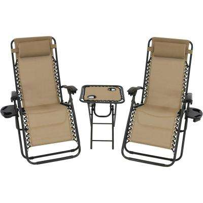 Zero Gravity Khaki Sling Beach Chairs with Side Table (Set of 2)