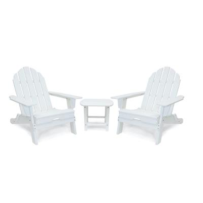 Balboa White Outdoor Patio Folding Plastic Adirondack Chair and Table Set