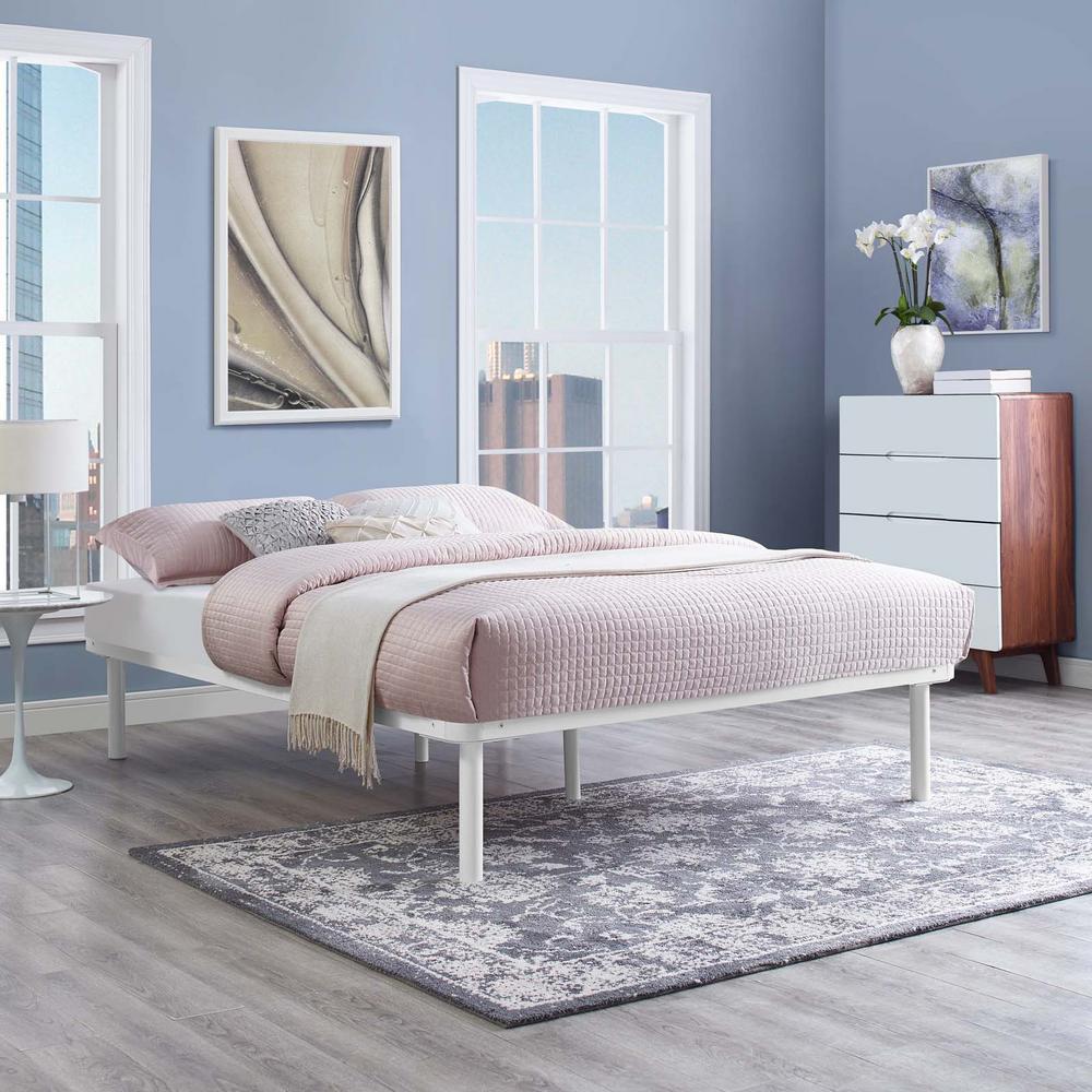 modway rowan white full platform bed frame mod 5548 whi the home depot. Black Bedroom Furniture Sets. Home Design Ideas