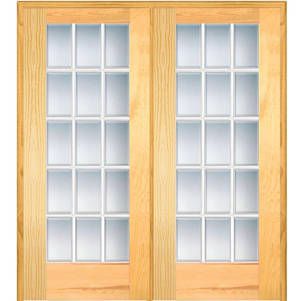 Mmi door 74 in x in classic clear beveled 15 lite - Home depot double doors interior ...