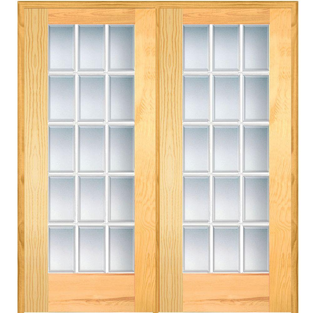 Mmi door 62 in x in classic clear beveled 15 lite for Double door french doors