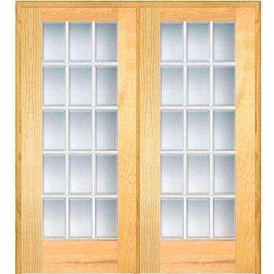 60 in. x 80 in. Right Hand Active Unfinished Pine Glass 15-Lite Clear Beveled Prehung Interior French Door