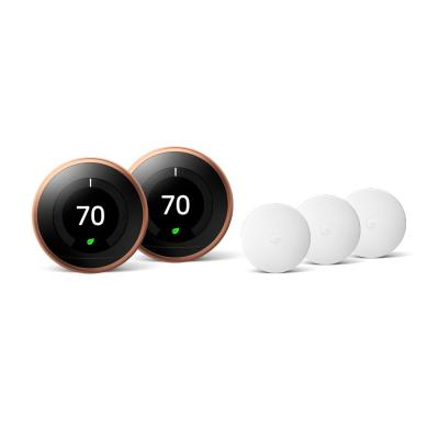 Nest Learning Thermostat 3rd Gen in Copper (2-Pack) and Google Nest Temperature Sensor (3-Pack)