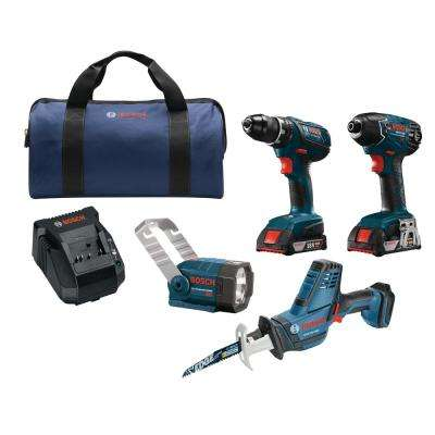 18-Volt Lithium-Ion Cordless Drill/Driver, Recip Saw, Impact Driver and Flashlight Power Tool Combo Kit (4-Tool)