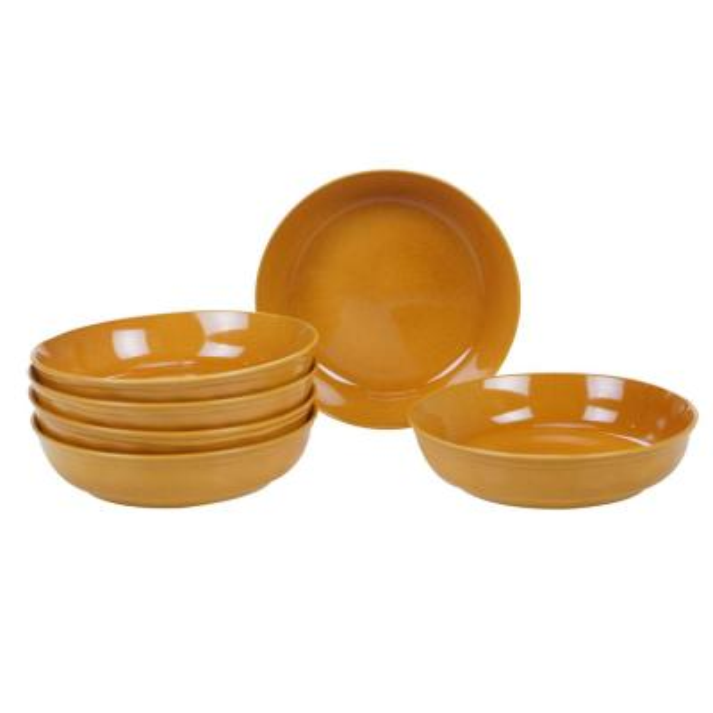 Autumn Fields by Susan Winget Orbit Harvest Gold 8.5 in. Soup/Pasta Bowl (Set of 6)