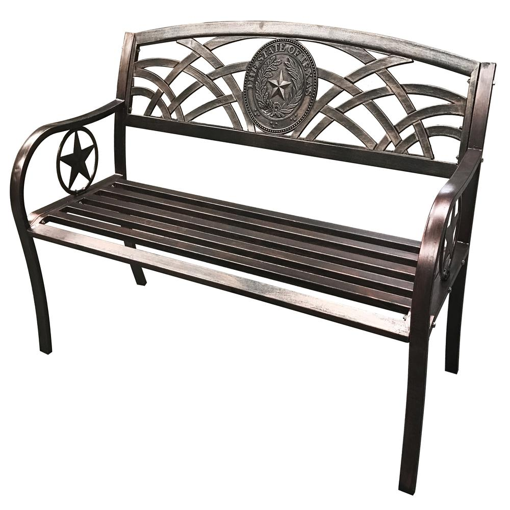 Leigh Country Texas State Seal Metal Bench