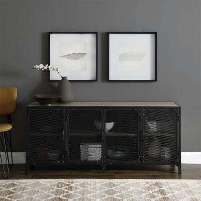 60 in. Grey Wash Industrial Console with Mesh