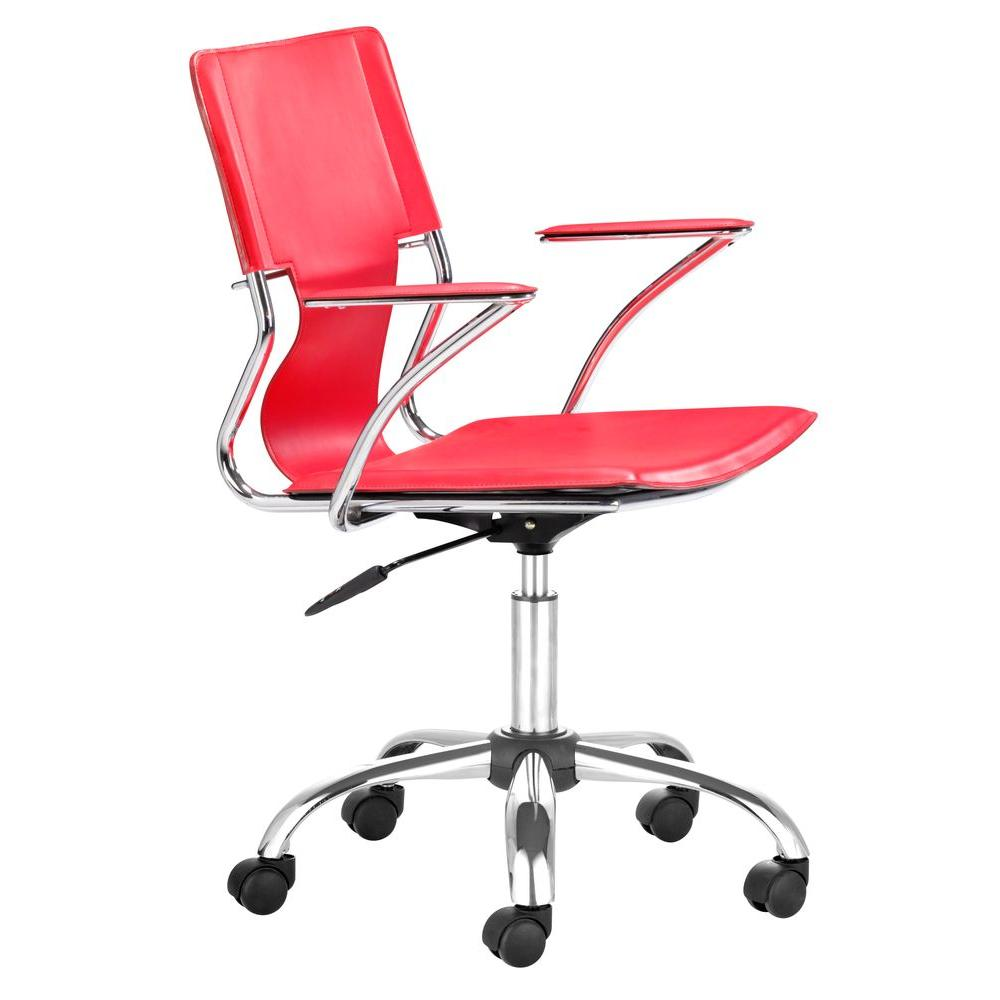 Zuo Trafico Red Leatherette Chair Silver Photo