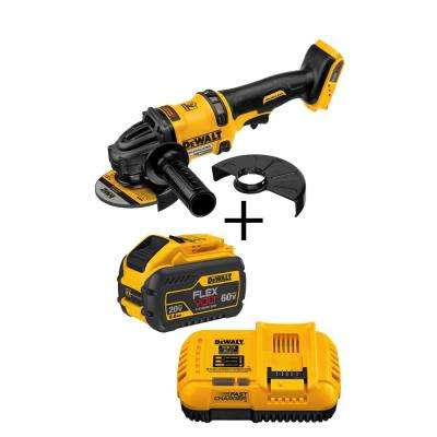 FLEXVOLT 60-Volt MAX Lithium-Ion Cordless Brushless 4-1/2 - 6 in. Angle Grinder (Tool-Only) with Bonus Battery & Charger
