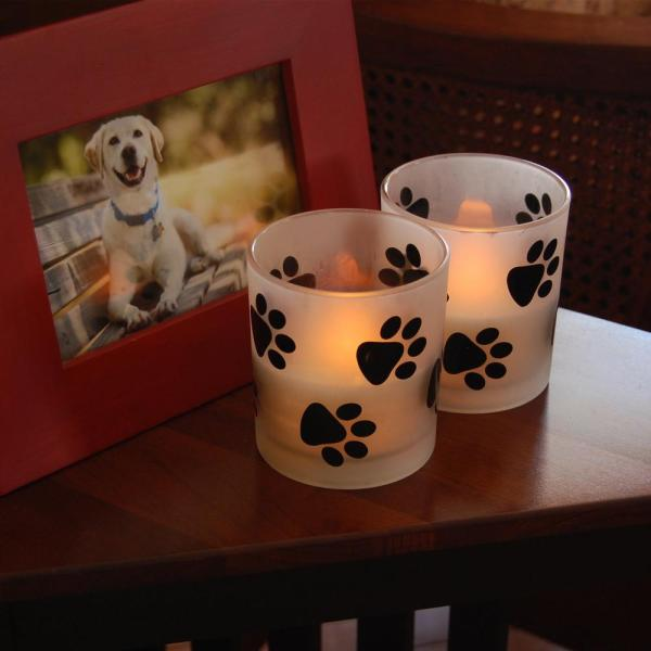 Lumabase Battery Operated LED Candles- Paw Prints (2 Count) 93602