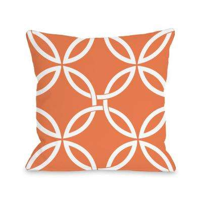Interwoven Circles Tangerine 16 in. x 16 in. Decorative Pillow