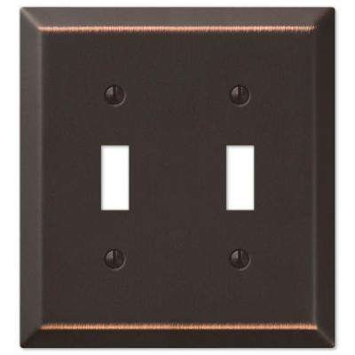 Metallic Steel 2 Toggle Wall Plate - Oil-Rubbed Bronze Cast