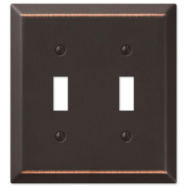 Metallic 2 Gang Toggle Steel Wall Plate - Aged Bronze