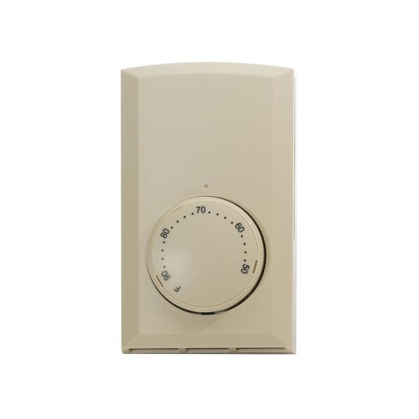 Mechanical Single-Pole 22 Amp Wall Thermostat in Almond