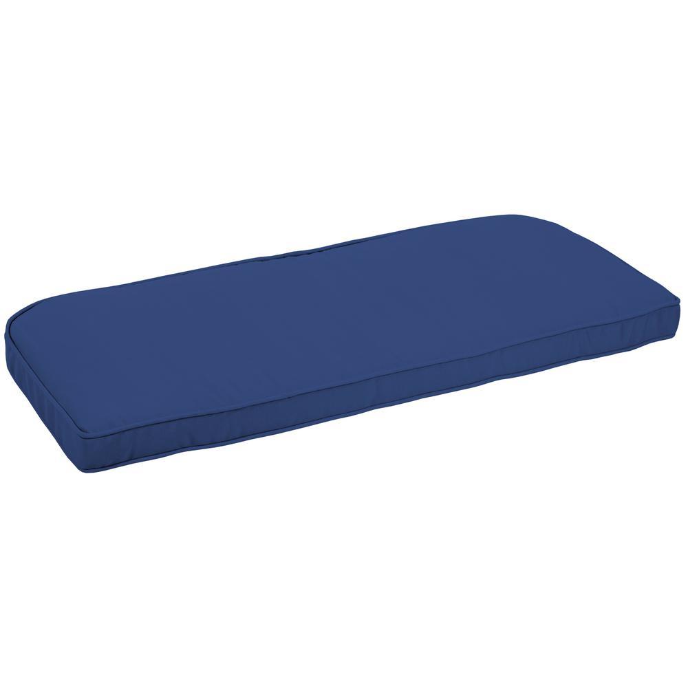 Arden Selections 41.5 x 18 Lapis Canvas Texture Contoured Outdoor Bench Cushion