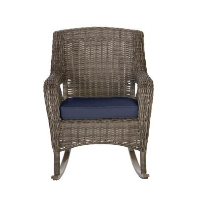 Cambridge Gray Wicker Outdoor Patio Rocking Chair with CushionGuard Midnight Navy Blue Cushions