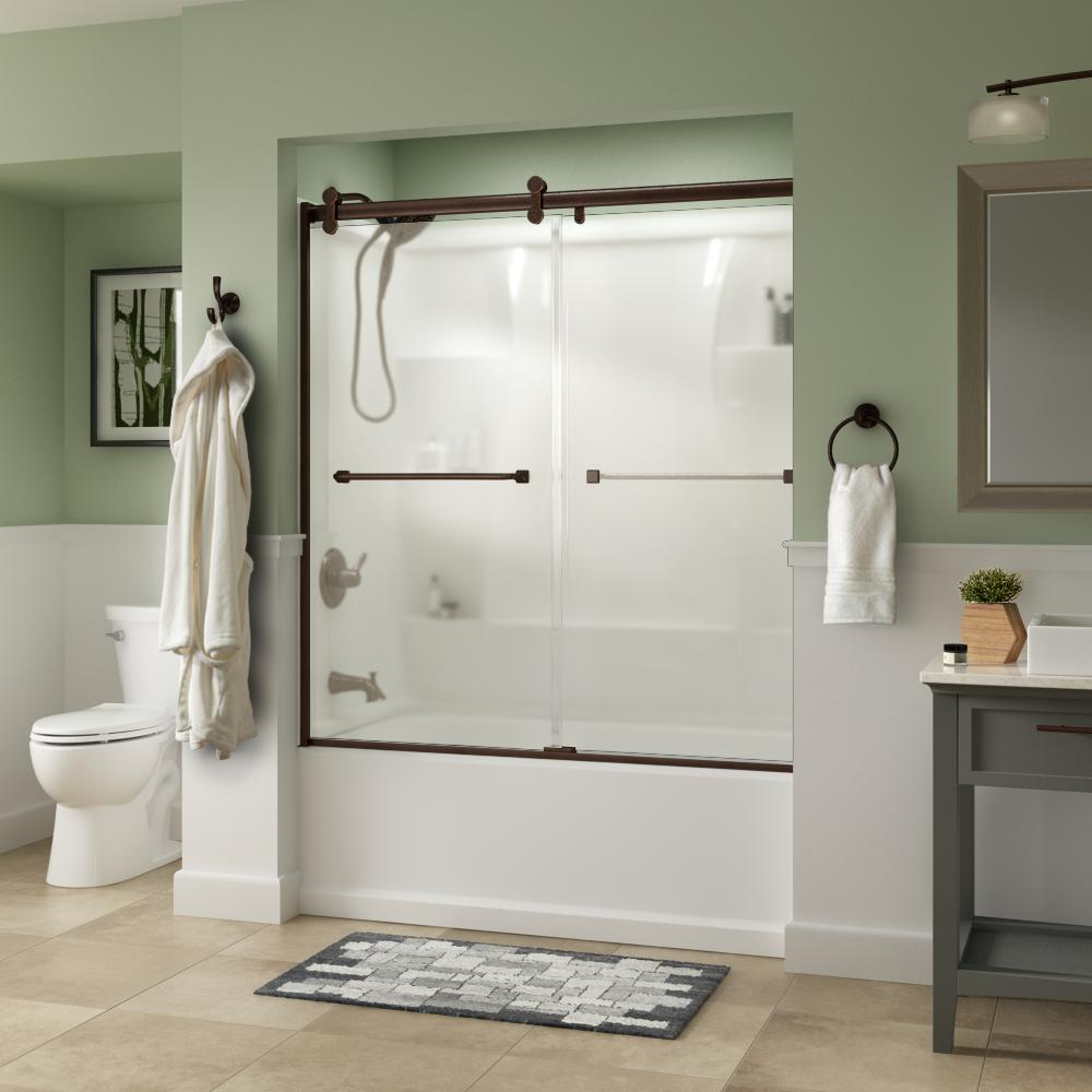 Delta Everly 60 x 58-3/4 in. Frameless Contemporary Sliding Bathtub Door in Bronze with Niebla Glass