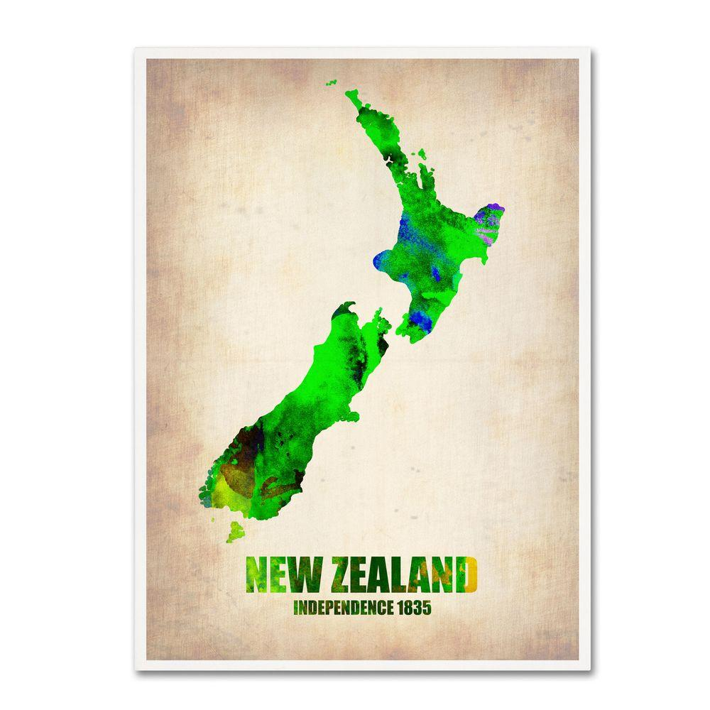 null 19 in. x 14 in. New Zealand Watercolor Map Canvas Art