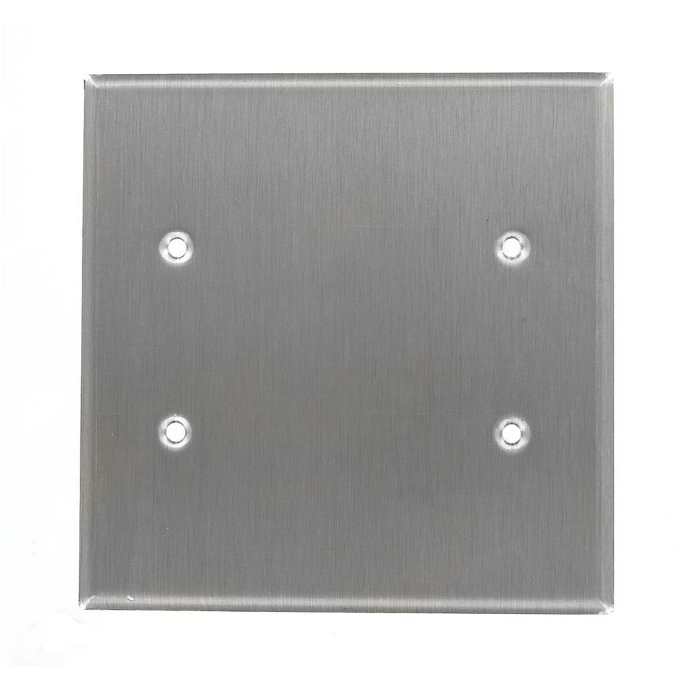 2-Gang No Device Blank Wallplate, Oversized, 302 Stainless Steel, Box Mount,