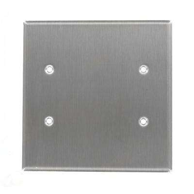 2-Gang No Device Blank Wallplate, Oversized, 302 Stainless Steel, Box Mount, Stainless Steel