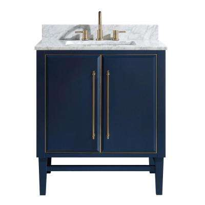 Mason 31 in. W x 22 in. D Bath Vanity in Navy Blue/Gold Trim with Marble Vanity Top in Carrara White with White Basin