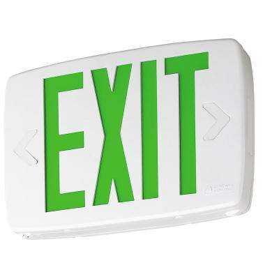 Quantum 1-Light Green Stencil 1-Watt Matte White Integrated LED Exit Sign