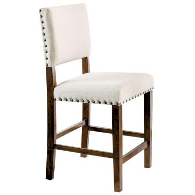 Gomti Brown Cherry Nail Head Trim Counter Height Chair (Set of 2)