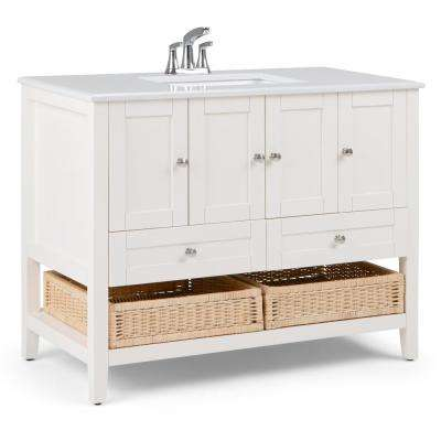 Cape Cod 42 in. W x 22 in. D Bath Vanity in Soft White with Quartz Marble Vanity Top in White with White Basin