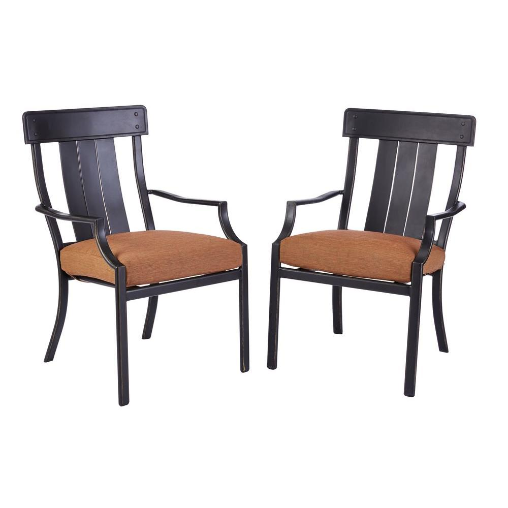 Oak Heights Stationary Patio Dining Chairs with Cashew Cushions (2-Pack)