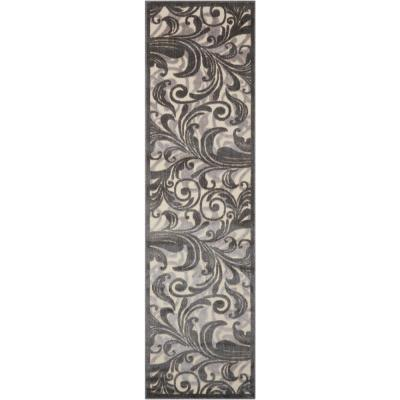 Graphic Illusions Multicolor 2 ft. x 8 ft. Floral Contemporary Runner Rug