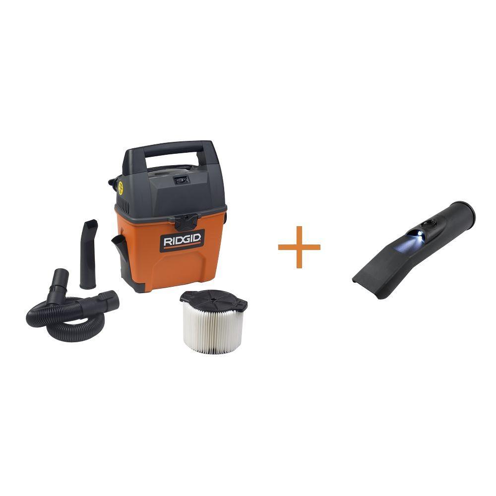 3 gal. 3.5-Peak HP Portable Pro Wet Dry Vac with Bonus LED Car Nozzle