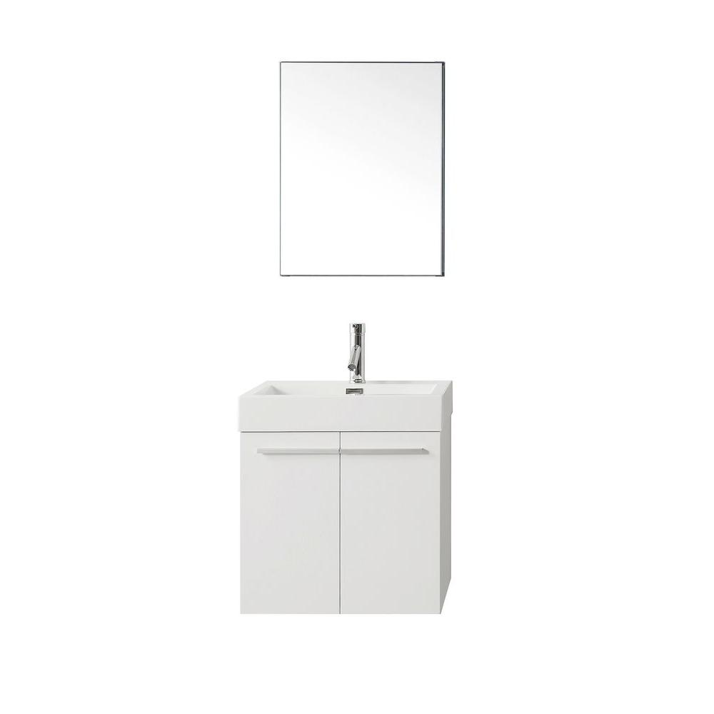 Virtu USA Midori 24 in. W Vanity in Gloss White with Poly-Marble Vanity Top in White with White Basin and Mirror