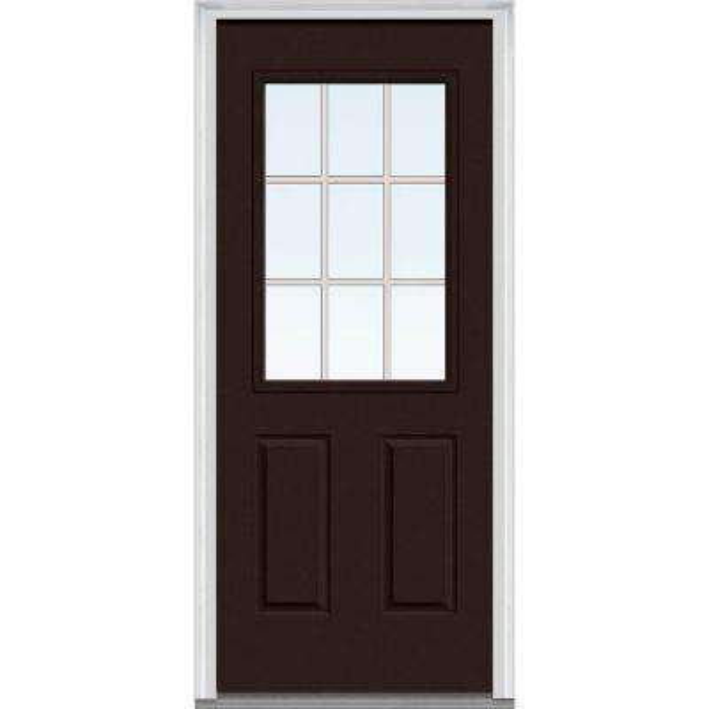 32 in. x 80 in. Grilles Between Glass Left-Hand Inswing 1/2-Lite Clear 2-Panel Painted Steel Prehung Front Door