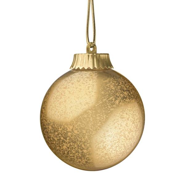 5 in. Gold LED Outdoor Hanging Globe Ornament