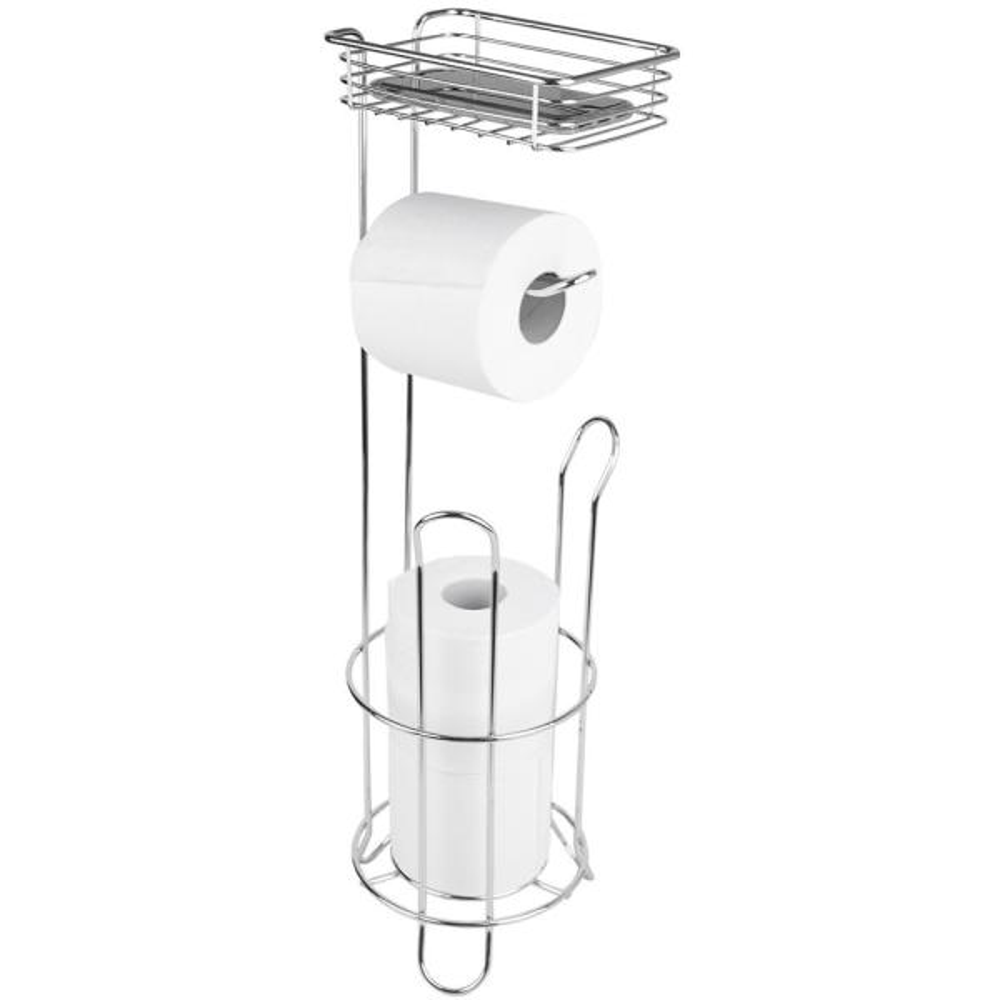 "Chrome Metal Post Toilet Tissue Paper Holder Free Standing 22/"""