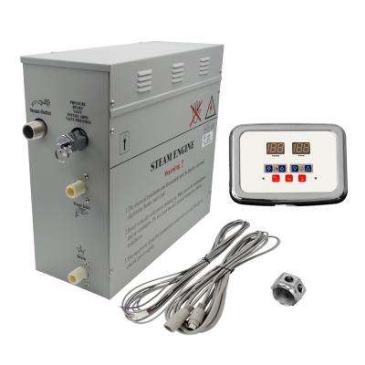 Superior 9kW Self-Draining Steam Bath Generator with Waterproof Programmable Controls and Chrome Steam Outlet