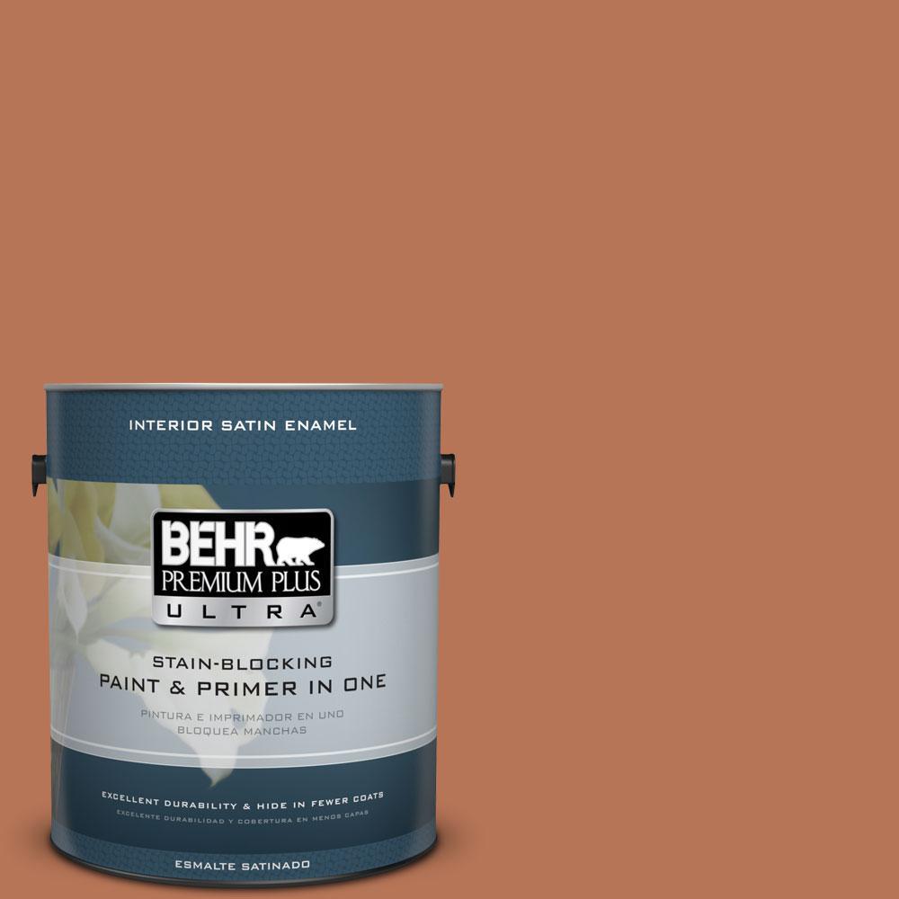 BEHR Premium Plus Ultra Home Decorators Collection 1-gal. #HDC-AC-06 Campfire Blaze Satin Enamel Interior Paint