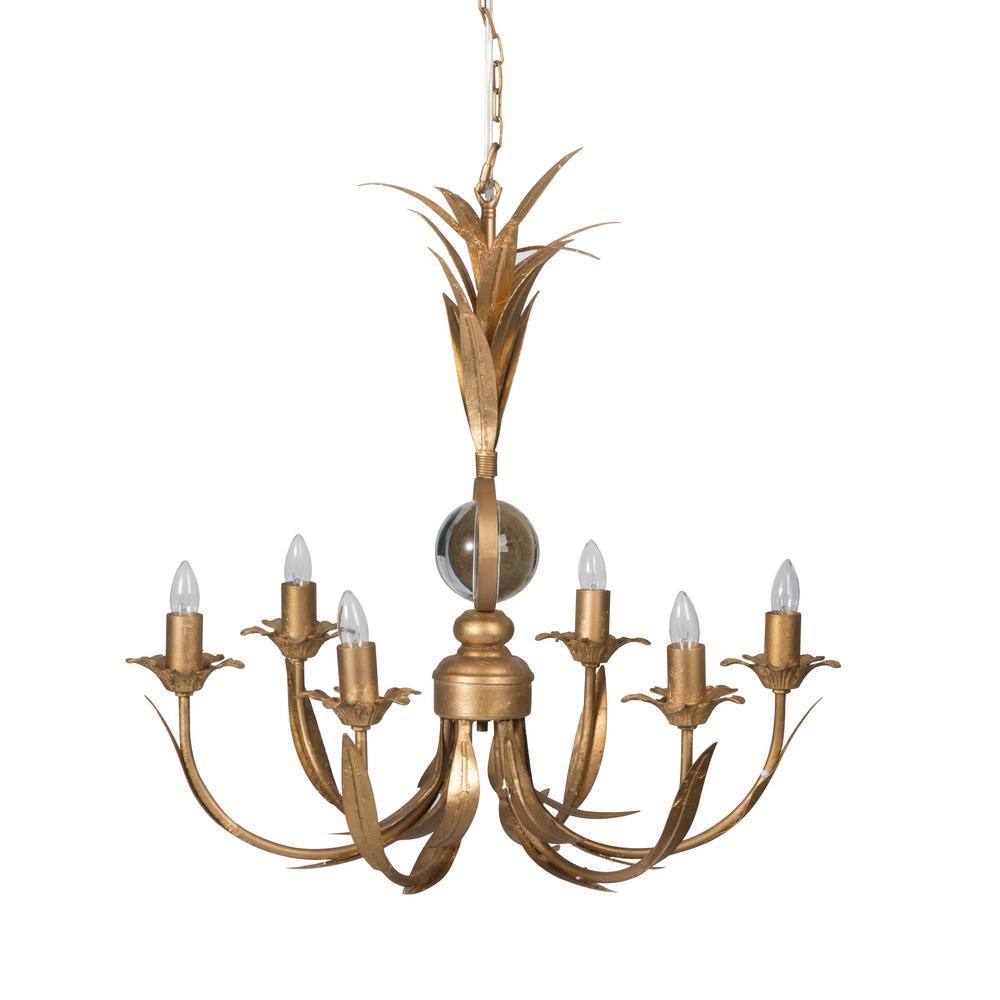 6-Light Brass Chandelier