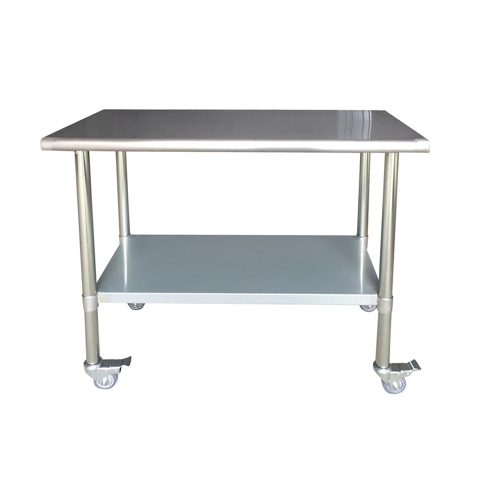 Stainless Steel Kitchen Utility Table with Locking Caste