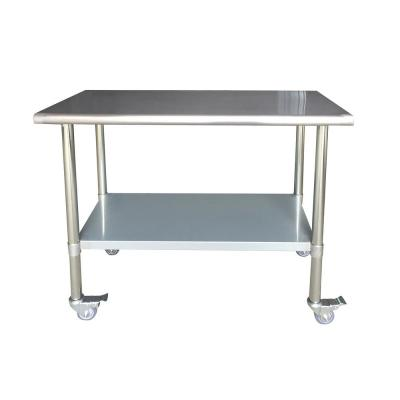Stainless Steel Kitchen Utility Table with Locking Casters