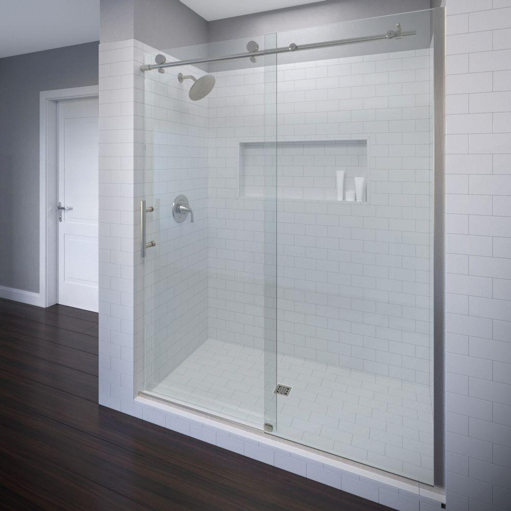 Basco Vinesse 59 in. x 76 in. Semi-Frameless Sliding Shower Door and Fixed Panel in Brushed Nickel