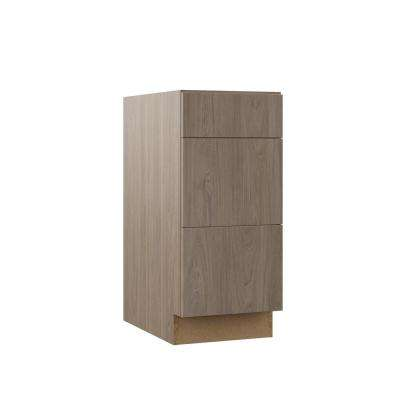 Edgeley Assembled 15x34.5x21 in. Bathroom Vanity Drawer Base Cabinet in Driftwood