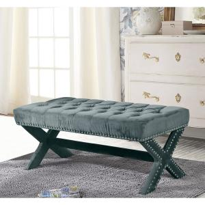 Awe Inspiring Inspired Home Bryoni Slate Blue Velvet Bench Button Tufted Caraccident5 Cool Chair Designs And Ideas Caraccident5Info