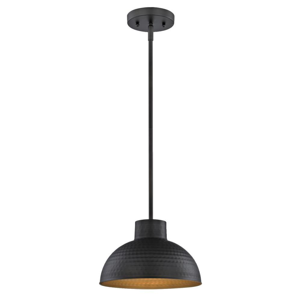 1-Light Hammered Oil Rubbed Bronze Pendant