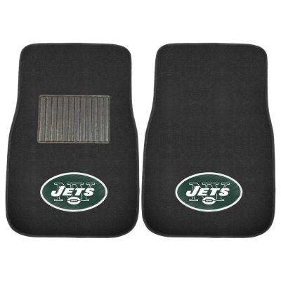 NFL New York Jets 2-Piece 17 in. x 25.5 in. Carpet Embroidered Car Mat