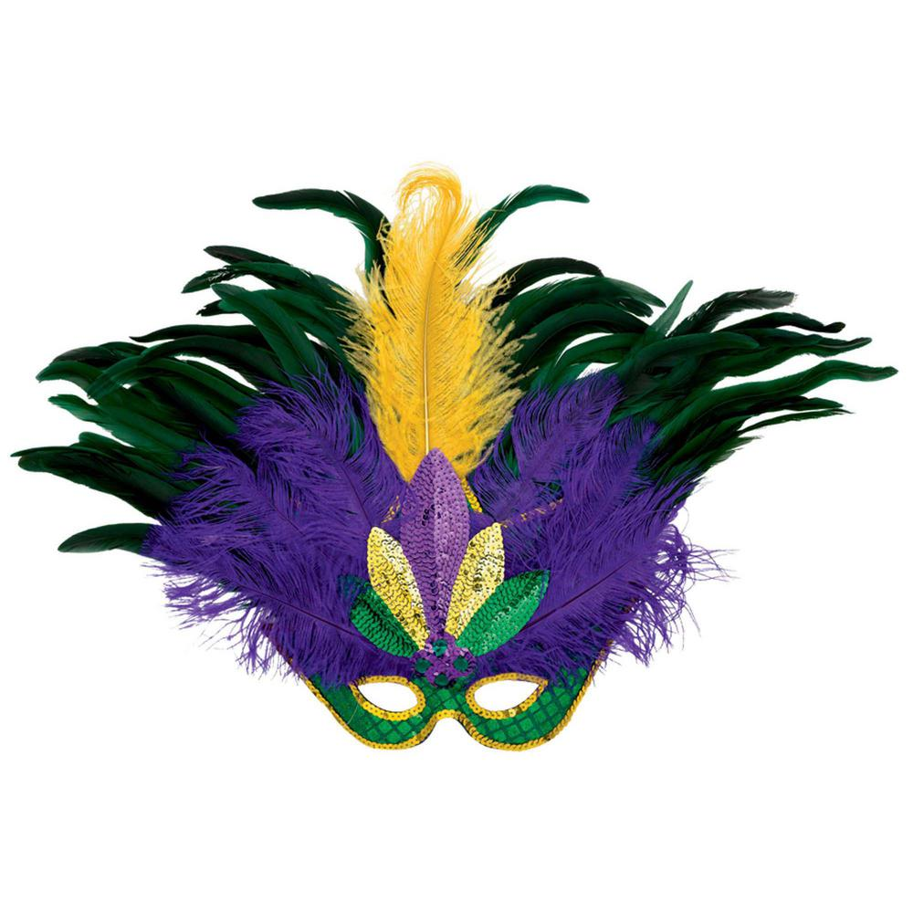 amscan green purple and gold feather sequin mardi gras mask 360054