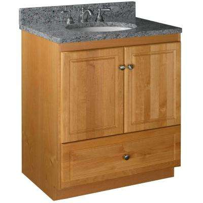 Ultraline 30 in. W x 21 in. D x 34.5 in. H Vanity with No Side Drawers Cabinet Only in Natural Alder