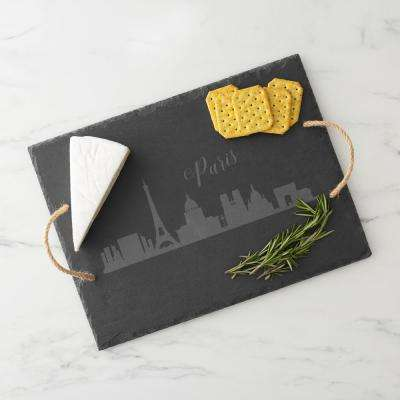 Paris Skyline Black Slate Serving Tray